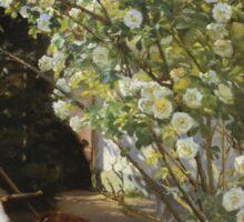 Peder Severin Kroyer - Roses. Garden landscape: garden view, Woman, blossom, nature, botanical park, floral flora, wonderful flowers, Rose, cute plant, garden, flower Sticker