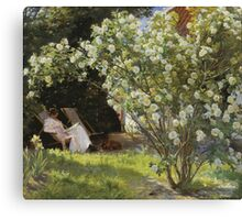 Peder Severin Kroyer - Roses. Garden landscape: garden view, Woman, blossom, nature, botanical park, floral flora, wonderful flowers, Rose, cute plant, garden, flower Canvas Print