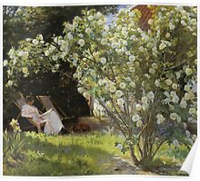 Peder Severin Kroyer - Roses. Garden landscape: garden view, Woman, blossom, nature, botanical park, floral flora, wonderful flowers, Rose, cute plant, garden, flower Poster