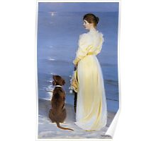 Peder Severin Kroyer - Summer Evening At Oil On Canvas 1892. Woman portrait: sensual woman, Dog, sea, sunset, calm, beautiful dress, anticipation, dream, love, sexy lady, erotic pose Poster