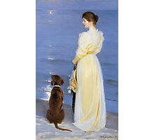 Peder Severin Kroyer - Summer Evening At Oil On Canvas 1892. Woman portrait: sensual woman, Dog, sea, sunset, calm, beautiful dress, anticipation, dream, love, sexy lady, erotic pose Photographic Print