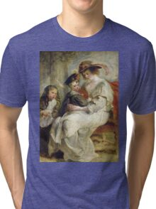 Peter Paul Rubens - Helene Fourment With Two Of Her Children. Mother with kid portrait: woman, well dressed, female,  son, daughter, embrace, family,  hat, memory, mom mum mammy mam, Helene Tri-blend T-Shirt