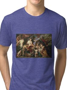Peter Paul Rubens - Minerva Protects Pax From Mars. People portrait: goddess, greek mythology, war god, god, female and male, children, angel, gods, women and men, wisdom, People Tri-blend T-Shirt