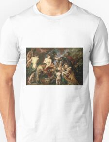 Peter Paul Rubens - Minerva Protects Pax From Mars. People portrait: goddess, greek mythology, war god, god, female and male, children, angel, gods, women and men, wisdom, People Unisex T-Shirt