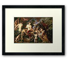 Peter Paul Rubens - Minerva Protects Pax From Mars. People portrait: goddess, greek mythology, war god, god, female and male, children, angel, gods, women and men, wisdom, People Framed Print