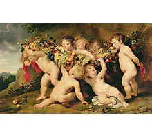 Peter Paul Rubens - Garland Of Fruit. Child portrait:  angel , angels, children, baby,  babes, barefoot , curly head,  grape,  Fruit, childhood, nude Photographic Print