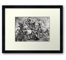 Peter Paul Rubens - The Battle Of Anghiari After Leonardo Da Vinci (1452-1519). The Battle:  fall,  thunder , death,  armour , attack, assault, horses, soldier , warrior, dramatic, fight Framed Print