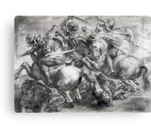 Peter Paul Rubens - The Battle Of Anghiari After Leonardo Da Vinci (1452-1519). The Battle:  fall,  thunder , death,  armour , attack, assault, horses, soldier , warrior, dramatic, fight Canvas Print