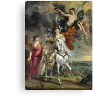Peter Paul Rubens - The Medici Cycle The Triumph Of Juliers. Woman portrait: Women, queen, Victoria, Goddess, white stallion, riches, laurels,  lion, sky , Triumph, Way Canvas Print