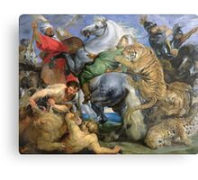 Peter Paul Rubens - The Tiger Hunt. People portrait: Men, horses, soldier, warrior, fight, death, leopard, lion, hunter, armour, spear Metal Print