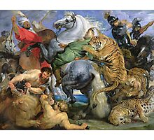 Peter Paul Rubens - The Tiger Hunt. People portrait: Men, horses, soldier, warrior, fight, death, leopard, lion, hunter, armour, spear Photographic Print