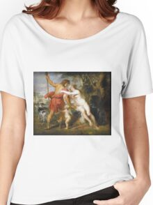 Peter Paul Rubens - Venus And Adonis. Lovers portrait:  seductive goddess, woman and man, Venus,  angel , good liferelations, lovely couple, nude lady, valentine's day, sexy, romance, female and male Women's Relaxed Fit T-Shirt