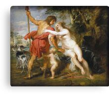 Peter Paul Rubens - Venus And Adonis. Lovers portrait:  seductive goddess, woman and man, Venus,  angel , good liferelations, lovely couple, nude lady, valentine's day, sexy, romance, female and male Canvas Print