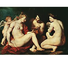 Peter Paul Rubens - Venus, Cupid, Bacchus And Ceres. People portrait:  goddess, Venus, Cupid, love, Bacchus, wine, Ceres, food, women and men, romance, good life Photographic Print