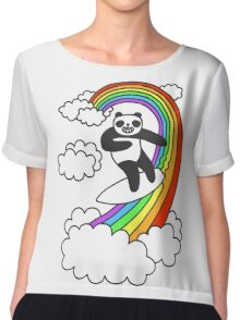 Pandas Surf Rainbows Chiffon Top