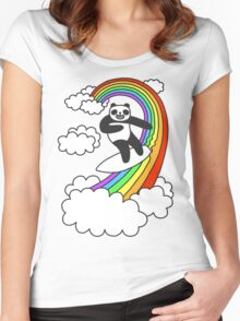 Pandas Surf Rainbows Women's Fitted Scoop T-Shirt