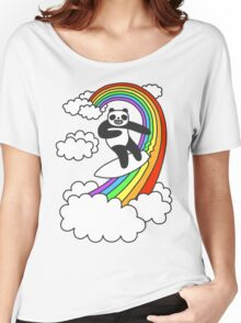 Pandas Surf Rainbows Women's Relaxed Fit T-Shirt