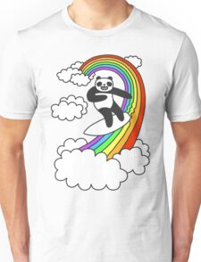 Pandas Surf Rainbows Unisex T-Shirt