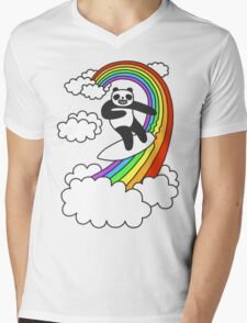 Pandas Surf Rainbows Mens V-Neck T-Shirt
