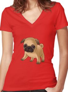 Cute Pug Puppy Women's Fitted V-Neck T-Shirt