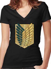 °MANGA° Attack On Titan Rust Logo Women's Fitted V-Neck T-Shirt