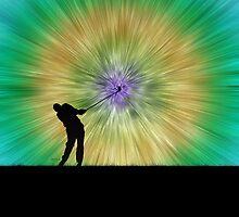 Green Tie Dye Golfer Silhouette by Phil Perkins