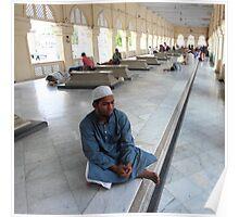 Man at Mecca Masjid Mosque Poster