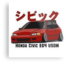 Honda Civic Hatchback on DropMode (red) Metal Print