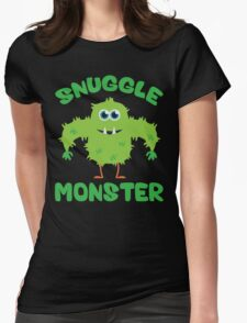 Snuggle Monster (Green) Womens Fitted T-Shirt