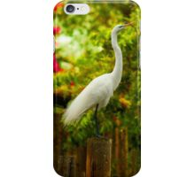 Snowy Egret on post with twig iPhone Case/Skin