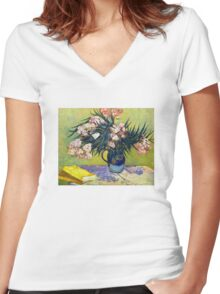 'Still Life with Oleander' by Vincent Van Gogh (Reproduction) Women's Fitted V-Neck T-Shirt