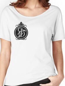 Fitted Plain round neck t-shirt with black logo Women's Relaxed Fit T-Shirt