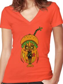Tangerine Burger by Lolita Tequila Women's Fitted V-Neck T-Shirt