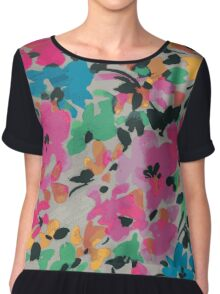 Graphic Flower Pattern VII Chiffon Top