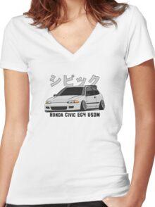 Honda Civic Hatchback on DropMode (silver) Women's Fitted V-Neck T-Shirt