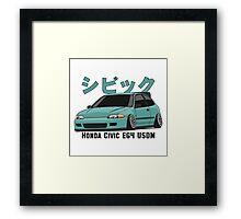 Honda Civic Hatchback on DropMode (aquamarine) Framed Print