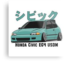 Honda Civic Hatchback on DropMode (aquamarine) Metal Print