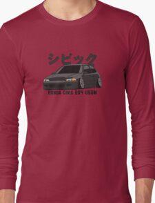 Honda Civic Hatchback on DropMode (black) Long Sleeve T-Shirt