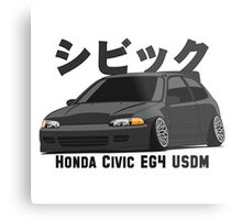 Honda Civic Hatchback on DropMode (black) Metal Print