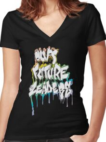 Our Future Leaders Graffiti Rainbow Women's Fitted V-Neck T-Shirt