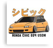 Honda Civic Hatchback on DropMode (yellow) Metal Print