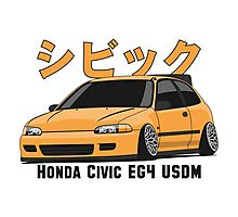 Honda Civic Hatchback on DropMode (yellow) Photographic Print