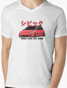 Honda Civic Hatchback on DropMode (pink) Mens V-Neck T-Shirt