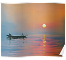 Two Men In A Boat Poster