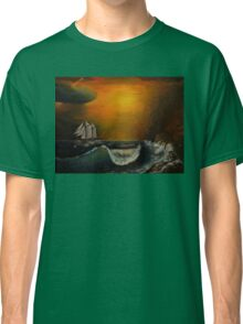 Sunset at the rocky shore Classic T-Shirt
