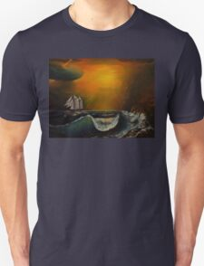 Sunset at the rocky shore Unisex T-Shirt