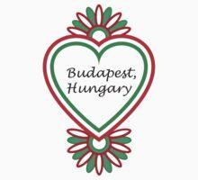 Budapest, Hungary Heart - Black Text Kids Tee