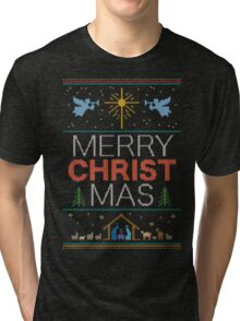 Ugly Christmas Sweater - Knit by Granny - Merry Christ Mas - Religious Christian Tri-blend T-Shirt