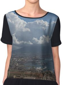 Cruising Into the Port of Naples, Italy Chiffon Top