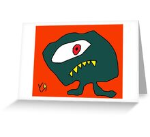 """Sly Eye Guy"" by Richard F. Yates Greeting Card"